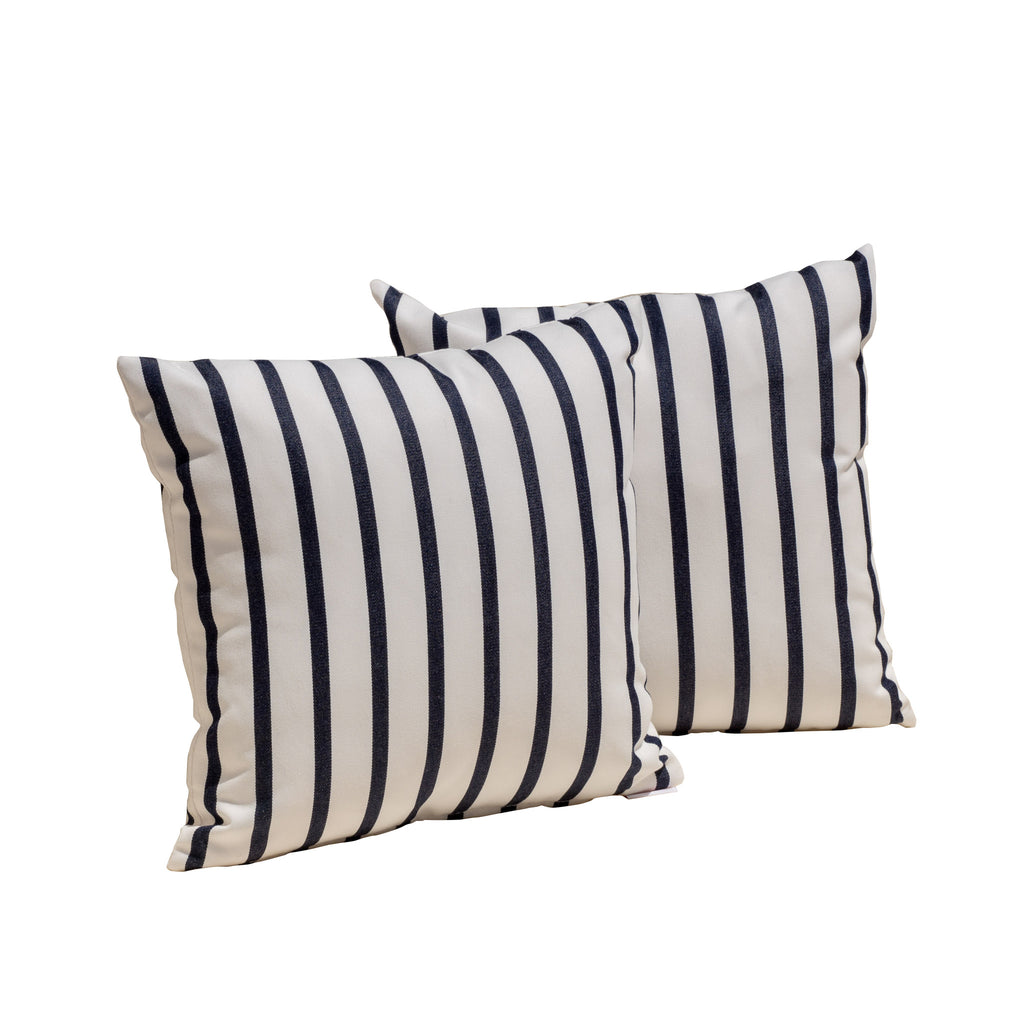 Sunbrella Lido Indigo Throw Pillow - Le Pouf