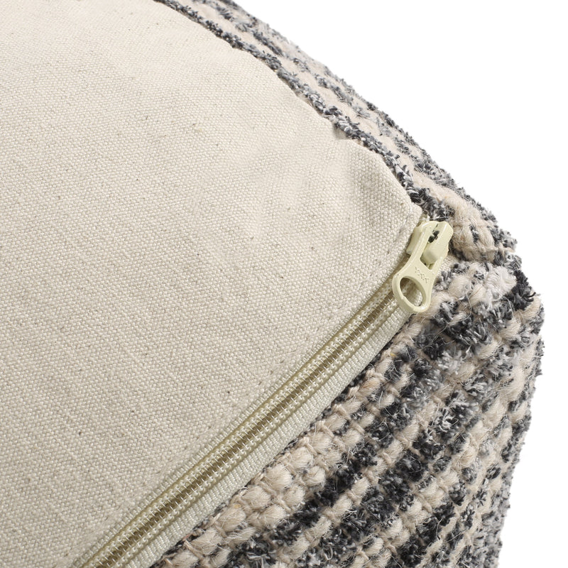 Ricketson Lazenby Boho Handcrafted Fabric Cube Pouf, Ivory, Gray, and Black