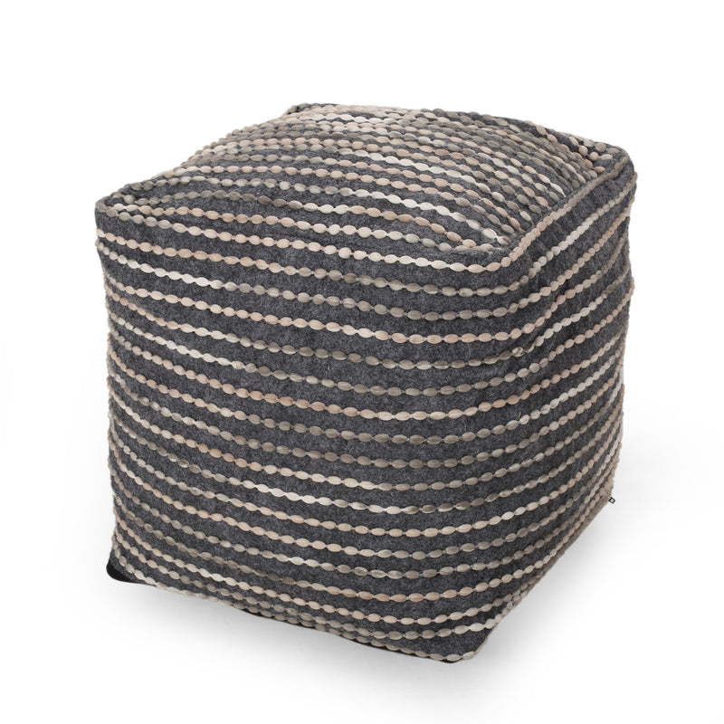 Purvis Jarrett Boho Handcrafted Fabric Cube Pouf, Ivory, Beige, and Gray