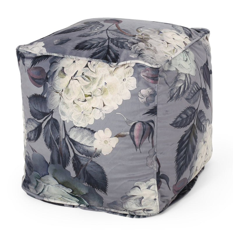 Amlin Traditional Medium Fabric Flower Print Pouf