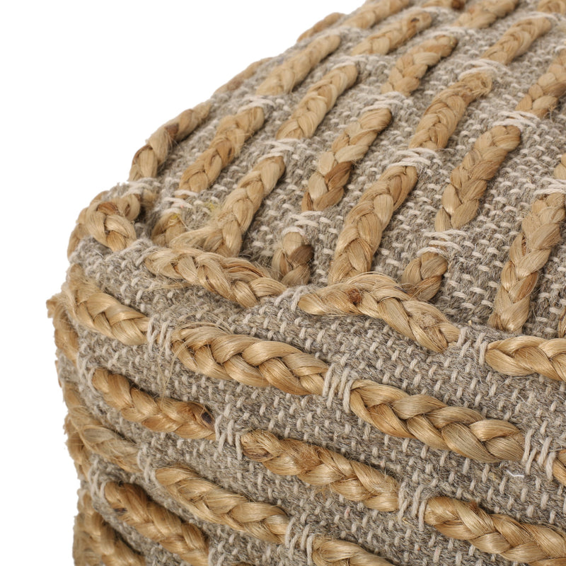 Berea Boho Handcrafted Fabric Cube Pouf, Natural