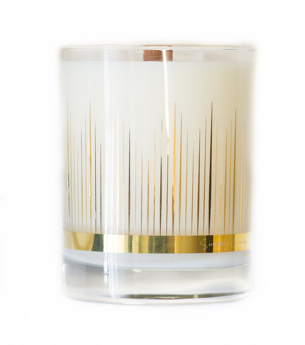 Amber Cardamom soy wax candle with crackling wooden wick in gold cocktail glass