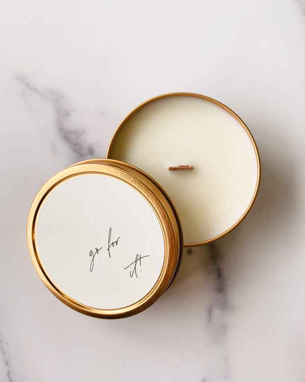"""Go For It!"" - Travel Candle"