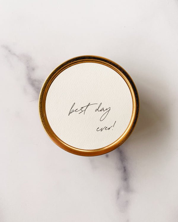"""Best Day Ever!"" - Travel Candle"