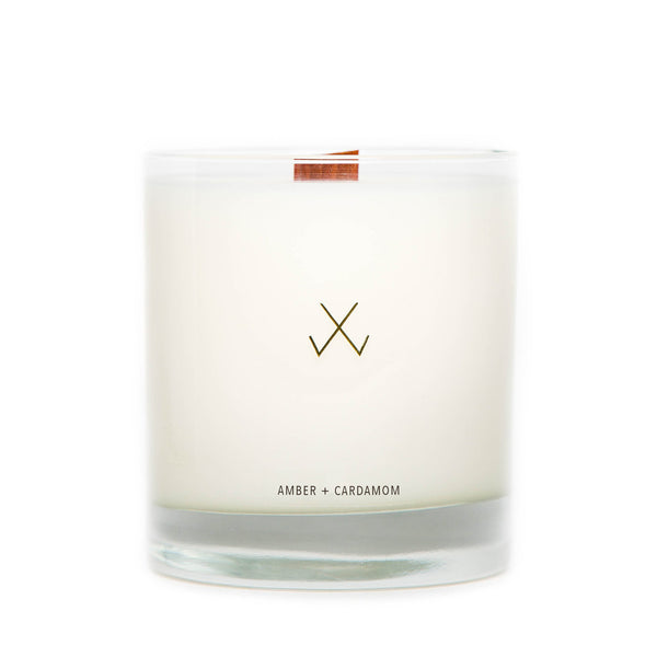 amber and cardamom soy candle with crackling wooden wick natural soy white wax and clear glass