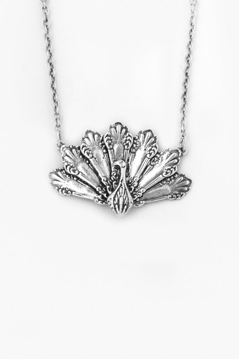 Peacock Sterling  Silver Necklace - Silver Spoon Jewelry