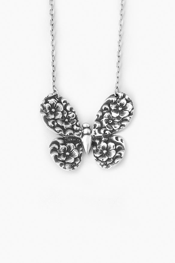 Olive Butterfly Sterling Silver Necklace - Silver Spoon Jewelry