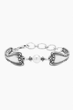 Daphne Sterling Silver Bracelet with Crystal Pearl