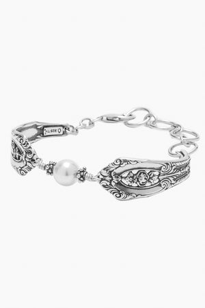 Empire Sterling Silver Bracelet with Crystal Pearl