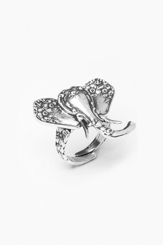 Elephant Sterling Silver Spoon Ring - Silver Spoon Jewelry