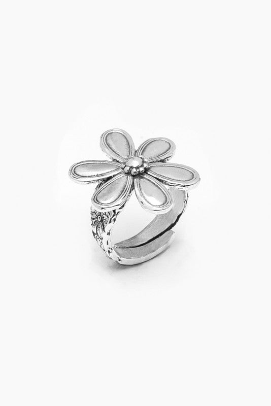 Marquis Flower Ring - Silver Spoon Jewelry