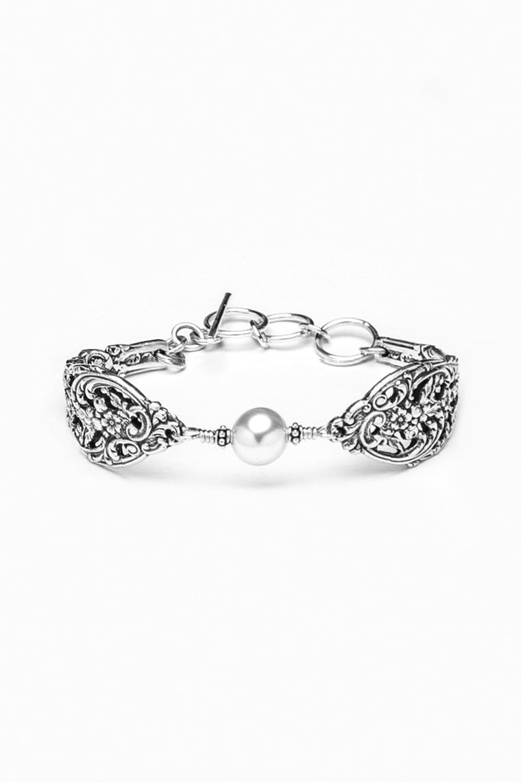 English Lace Bracelet with Pearl - Silver Spoon Jewelry