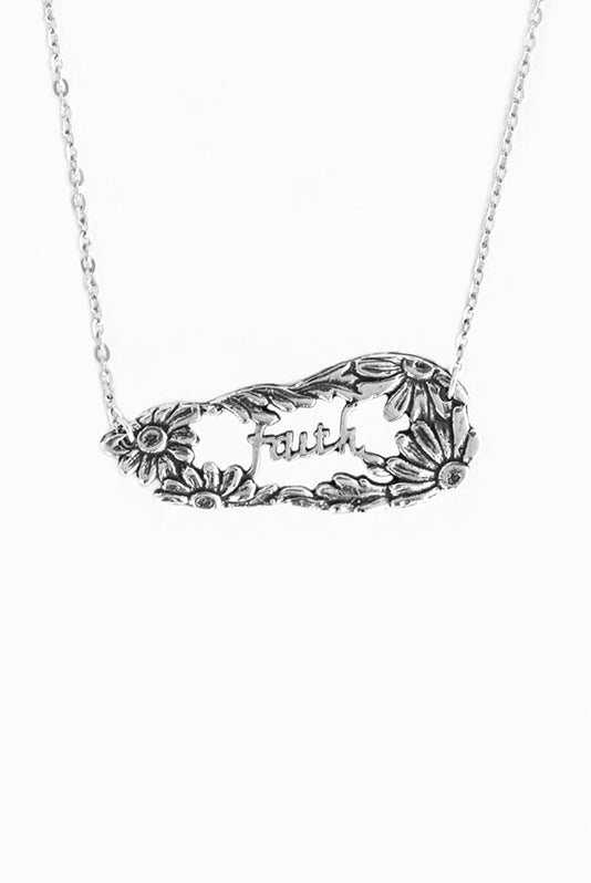 Daisy Faith Inspirational Necklace - Silver Spoon Jewelry