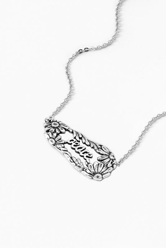 Daisy Peace Inspirational Necklace - Silver Spoon Jewelry
