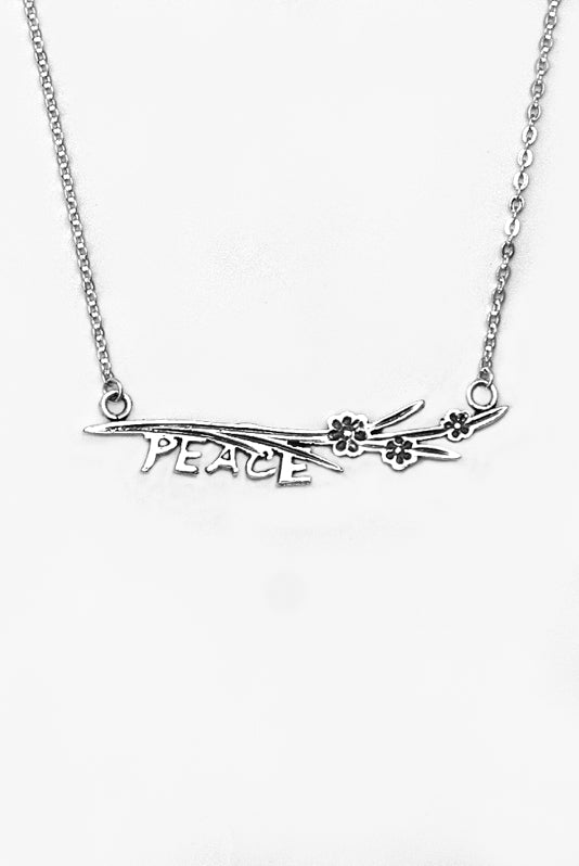 Maisie Peace Inspirational Bar Necklace - Silver Spoon Jewelry