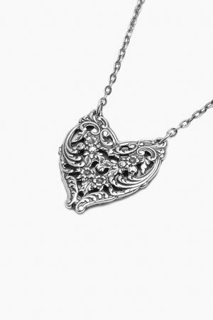 English Lace Sterling Silver Heart Necklace