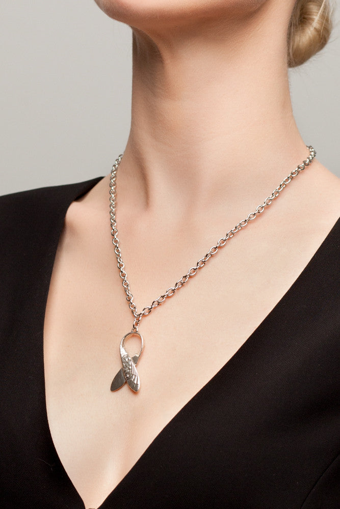 Awareness Ribbon Pendant Necklace - Silver Spoon Jewelry