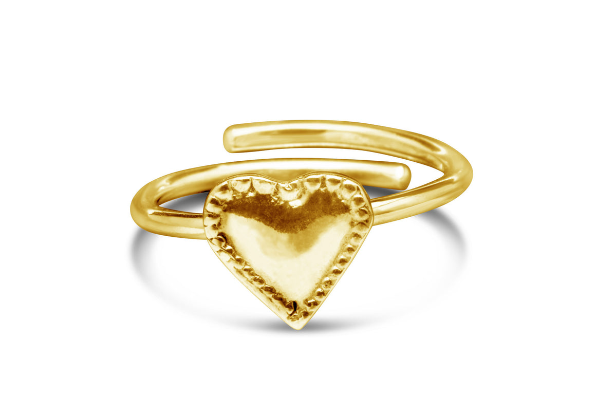 Vermeil Monterey Heart Sterling Ring - Silver Spoon Jewelry