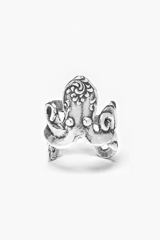 Octopus Sterling Silver Spoon Ring - Silver Spoon Jewelry