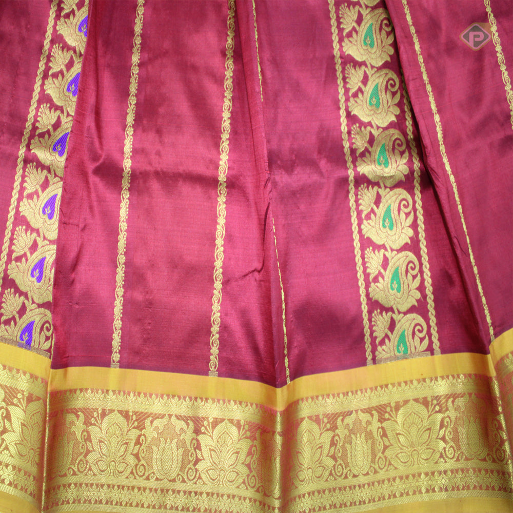 Maroon with light Yellow Colour Adult Pavadas