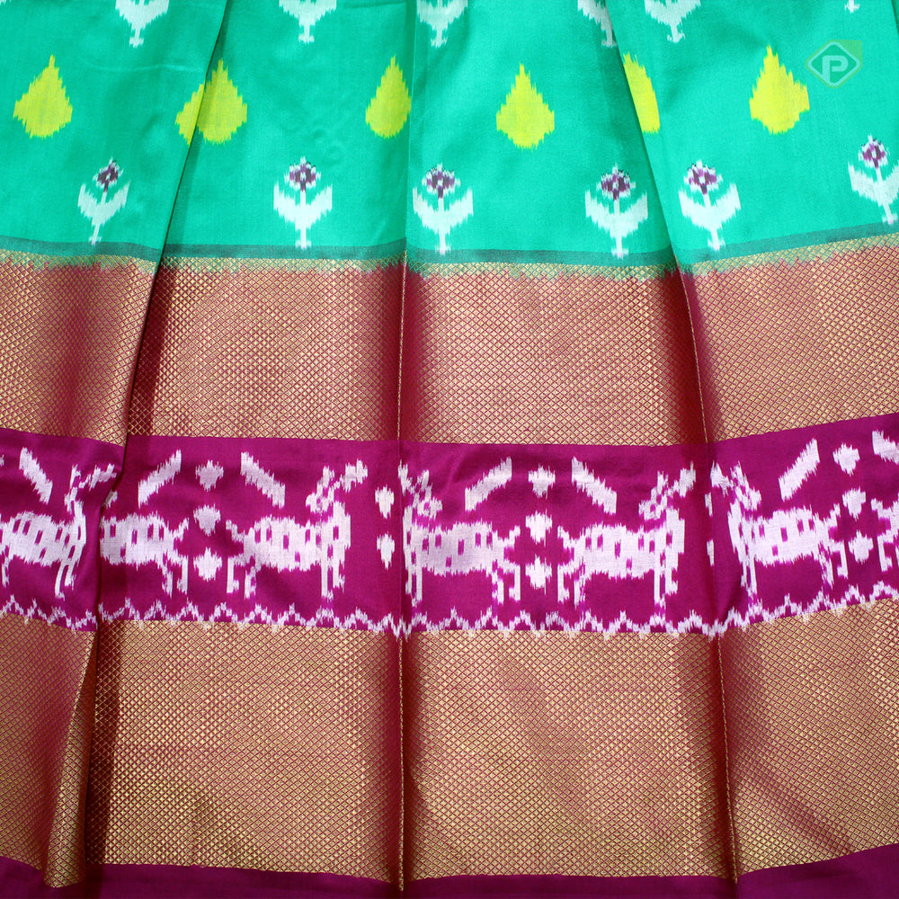 Sea green with Dark Pink Colour Adult Pavadas