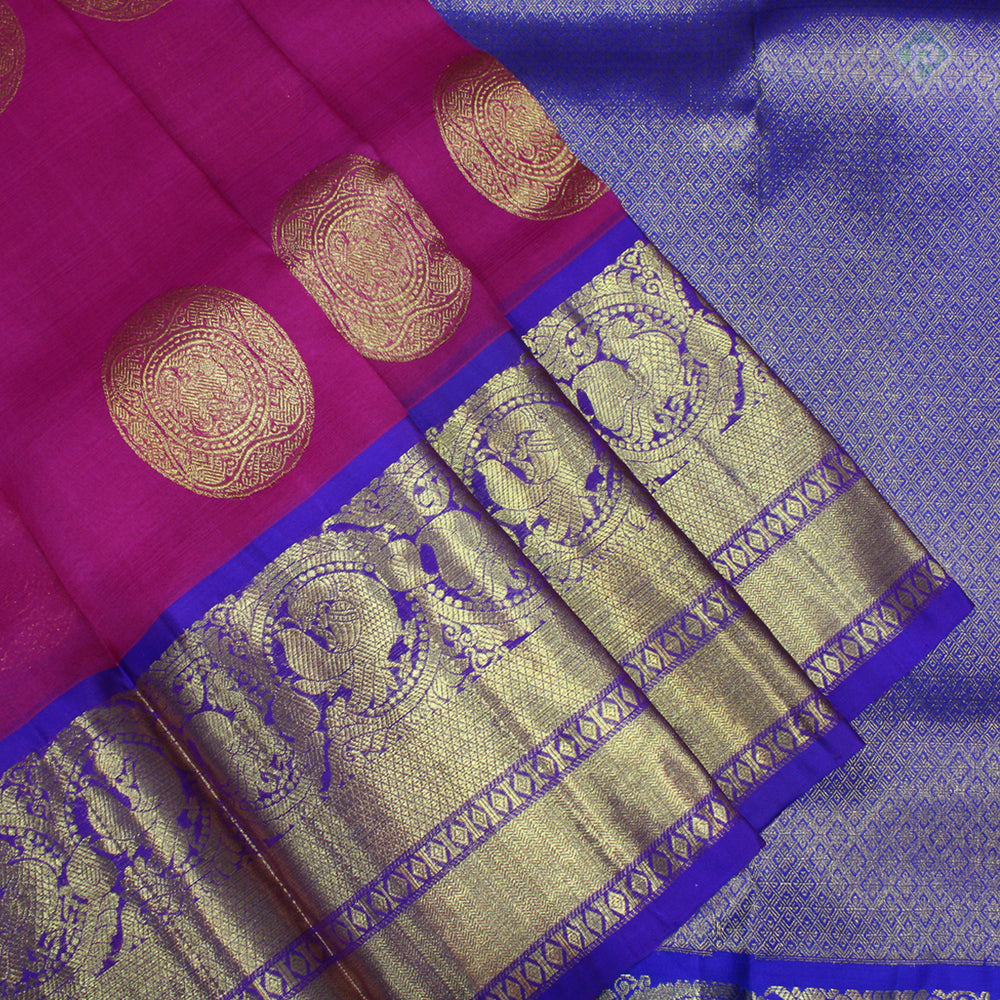 Magenta Pink With Blue Colour Organza (or) Kora Silk Saree