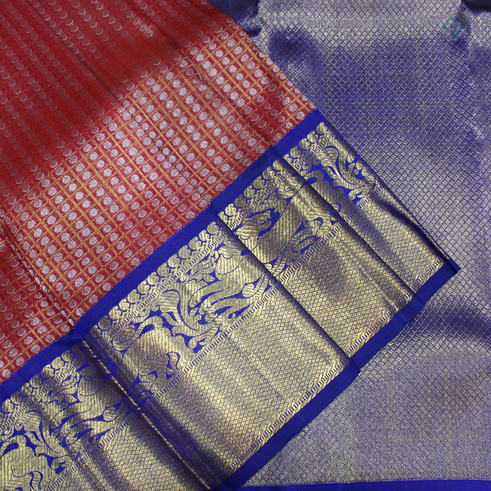Dark Red With Dark Blue Colour Organza (or) Kora Silk Saree