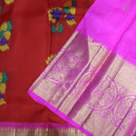 Chilly Red With Hot Pink Colour Organza (or) Kora Silk Saree