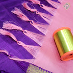 Lemonade Pink With Byzantine Violet Colour Bridal Saree