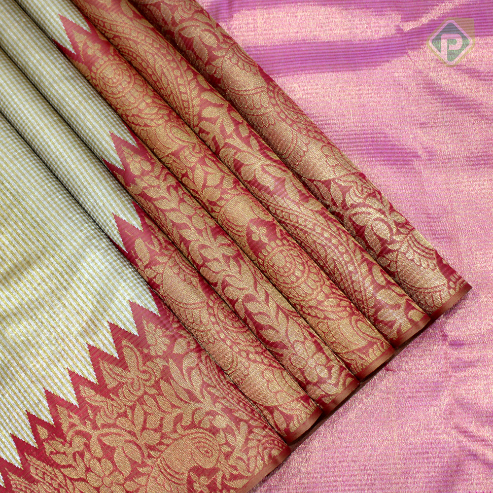 Gold Colour With Red, Pink Colour Bridal Tissue Saree
