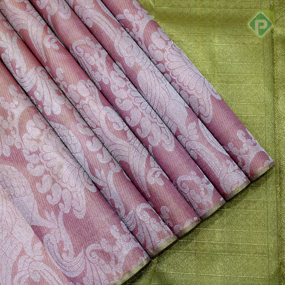 Lemonade Pink With Moss Green Colour Bridal Tissue Saree