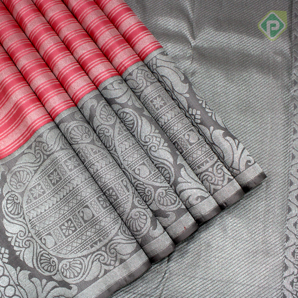 Flamingo Pink With Steel Gray Colour Bridal Saree