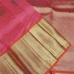 Brick Pink With Orange Colour Organza (or) Kora Silk Saree