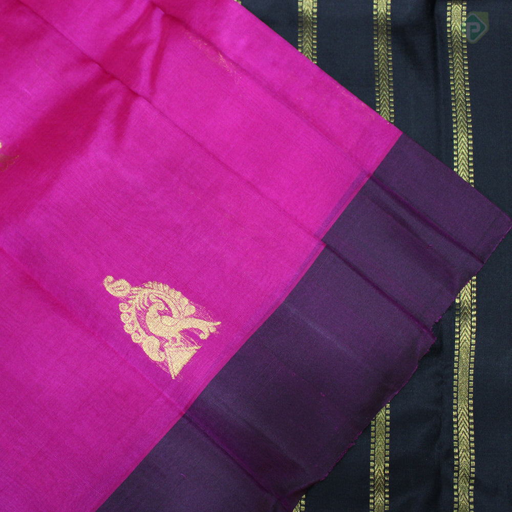 Magenta Pink With Black Colour Organza (or) Kora Silk Saree