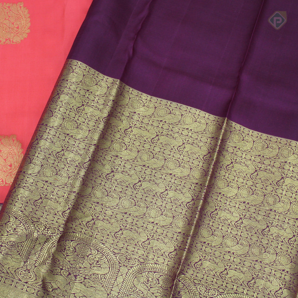 Salmon Red With Byzantine Violet Colour Bridal Silk saree