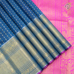 Prussian Blue With Hot Pink Colour Bridal Saree