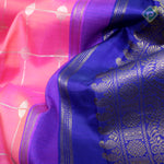 Creamy Pink With Navy Blue Colour Bridal Saree