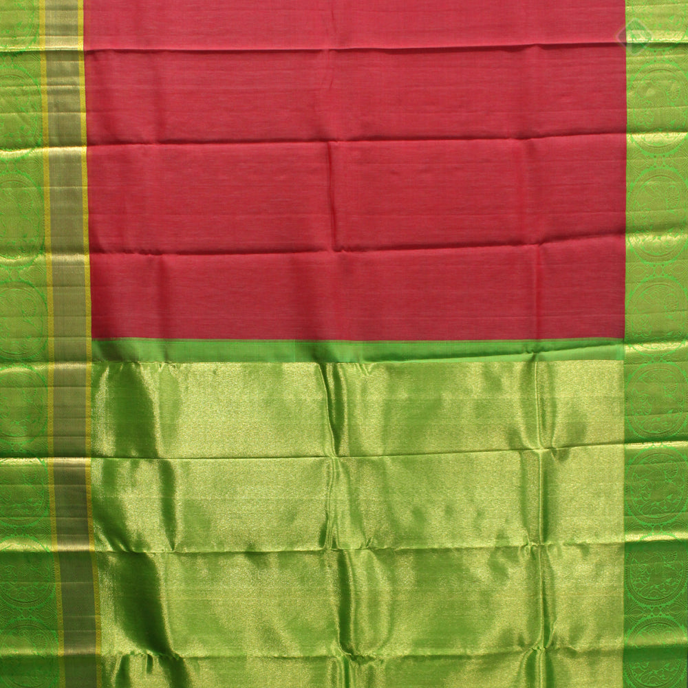 Brick Red With Parrot Green Colour Linen Silk Saree