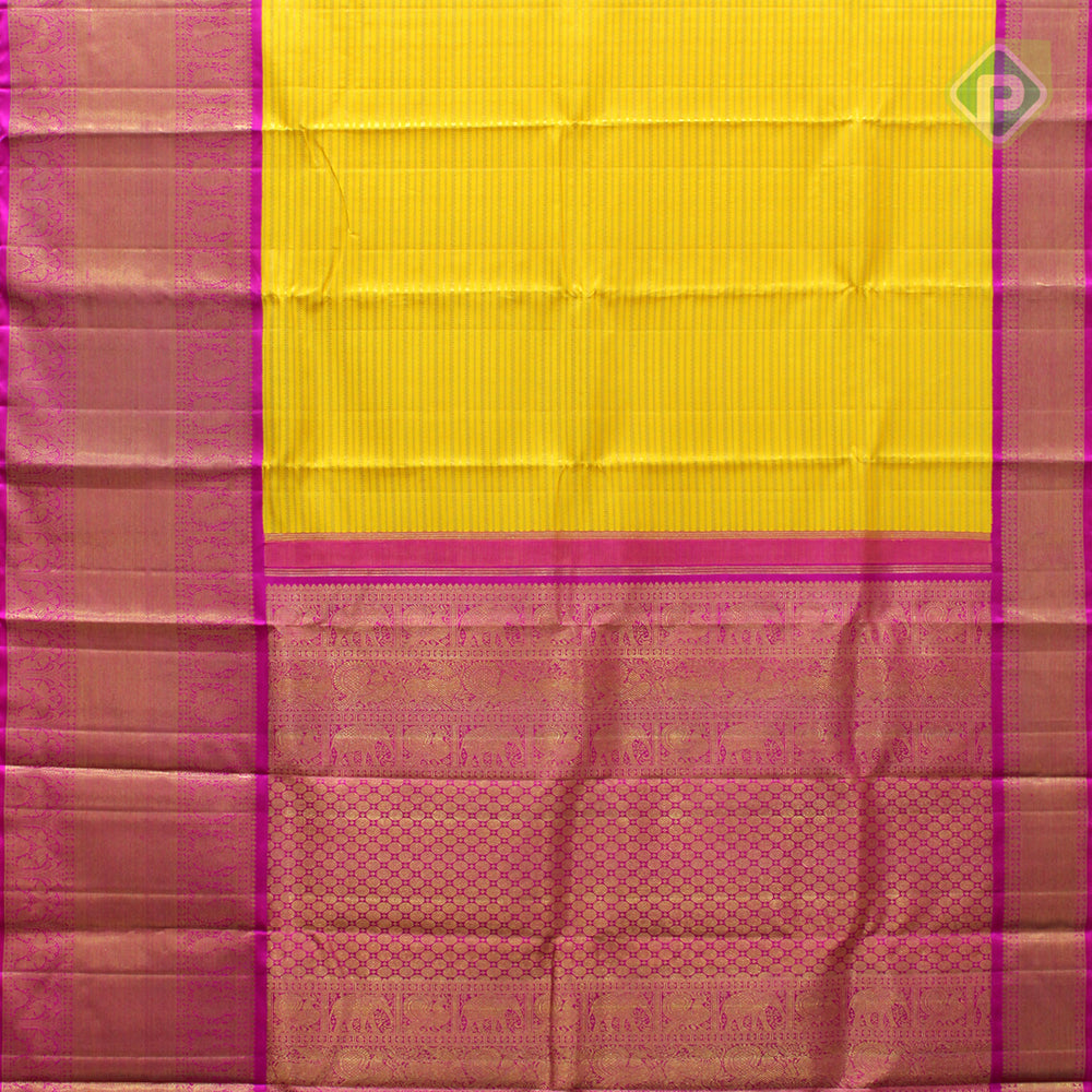 Bright Yellow With Hot Pink Bridal Saree