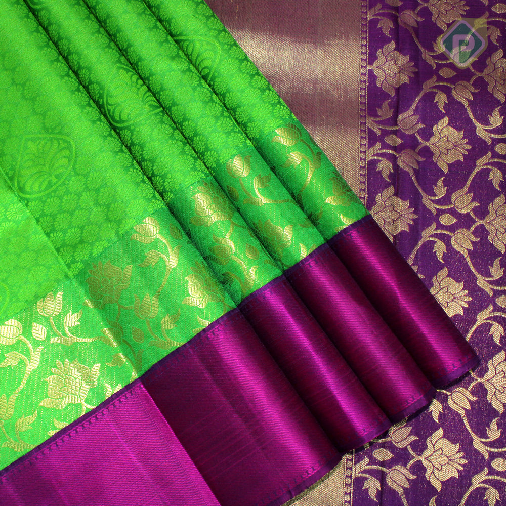 Leaf Green With Byzantine Violet Colour Fancy Silk Saree