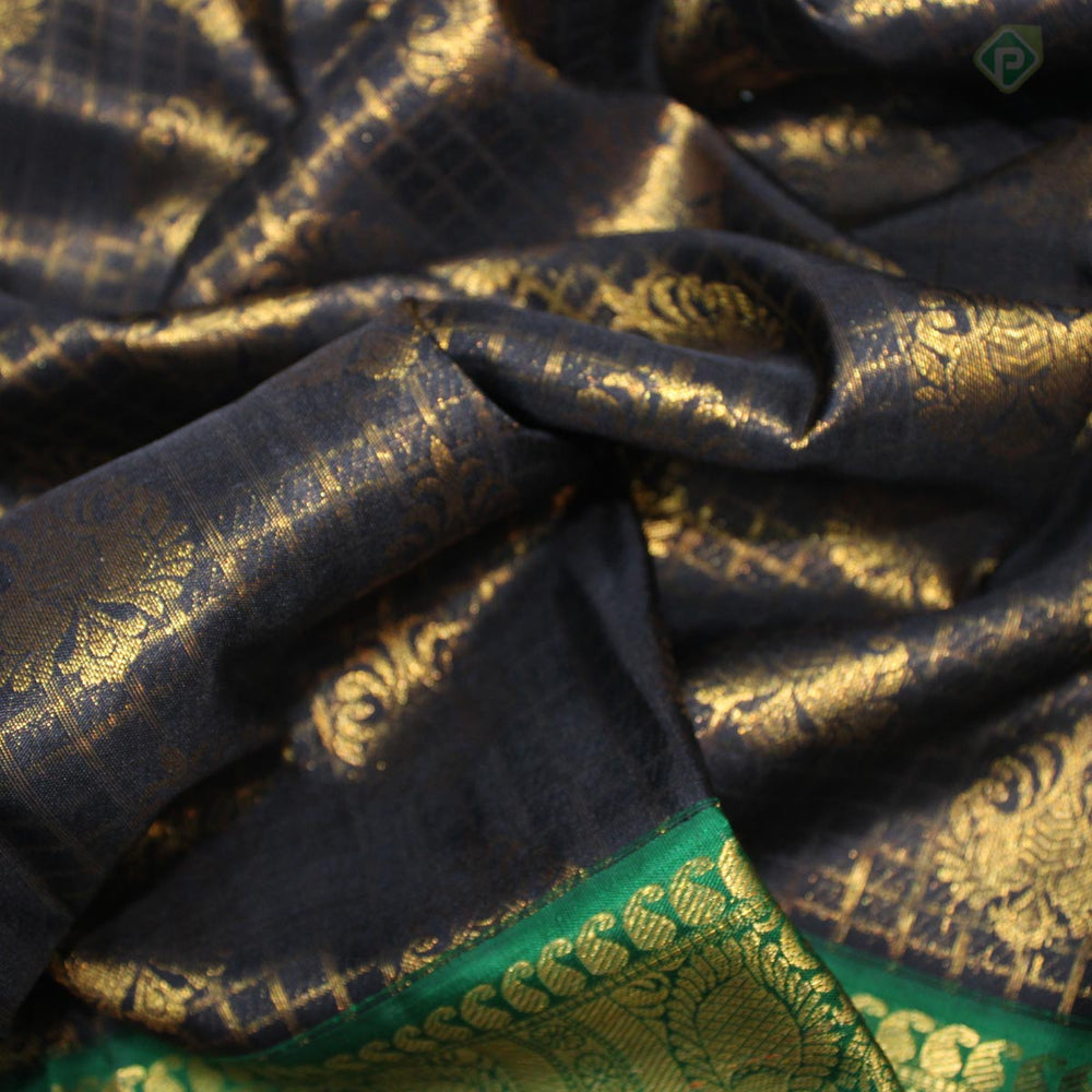 Black With Green Colour Bridal Silk saree