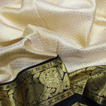 Cream White With Black Colour Bridal Silk saree
