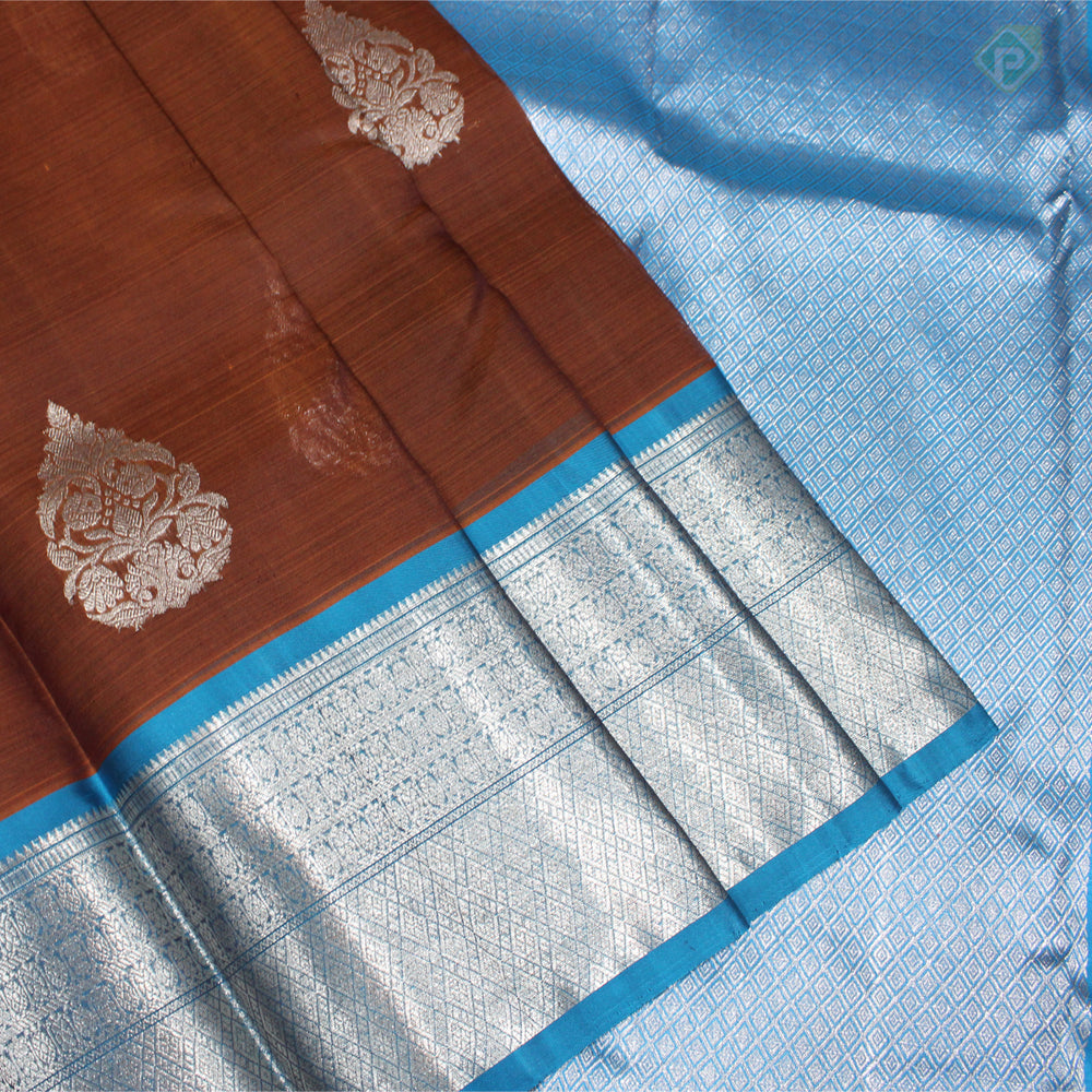 Syrup Brown With Sky Blue Colour Organza (or) Kora Silk Saree