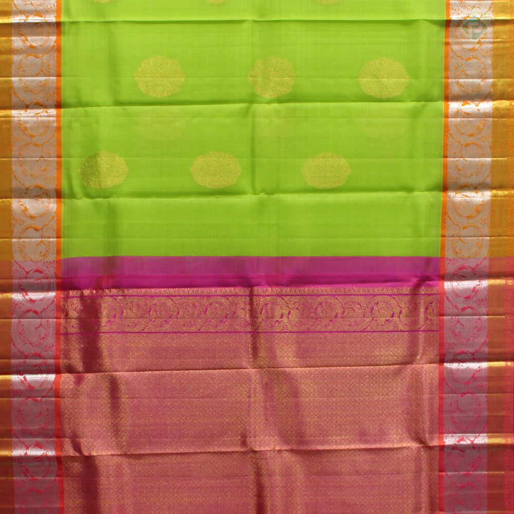 Kelly Green With Pink Colour Organza (or) Kora Silk Saree