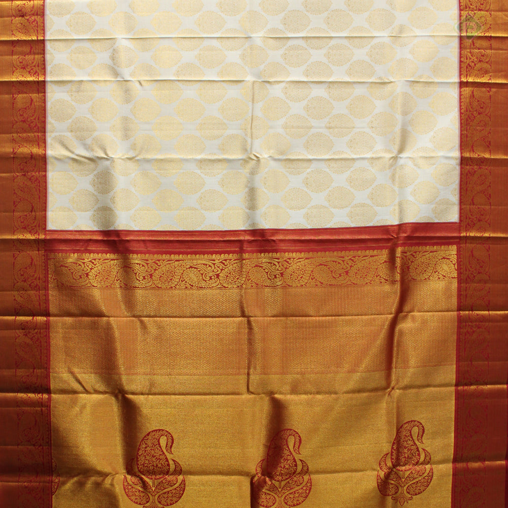 Milk White With Red Colour Bridal Silk saree