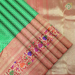 Leaf Green With Red Colour Bridal Saree