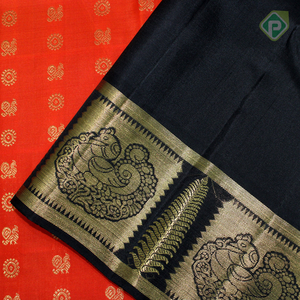 Tiger Orange With Black Colour Traditional Saree