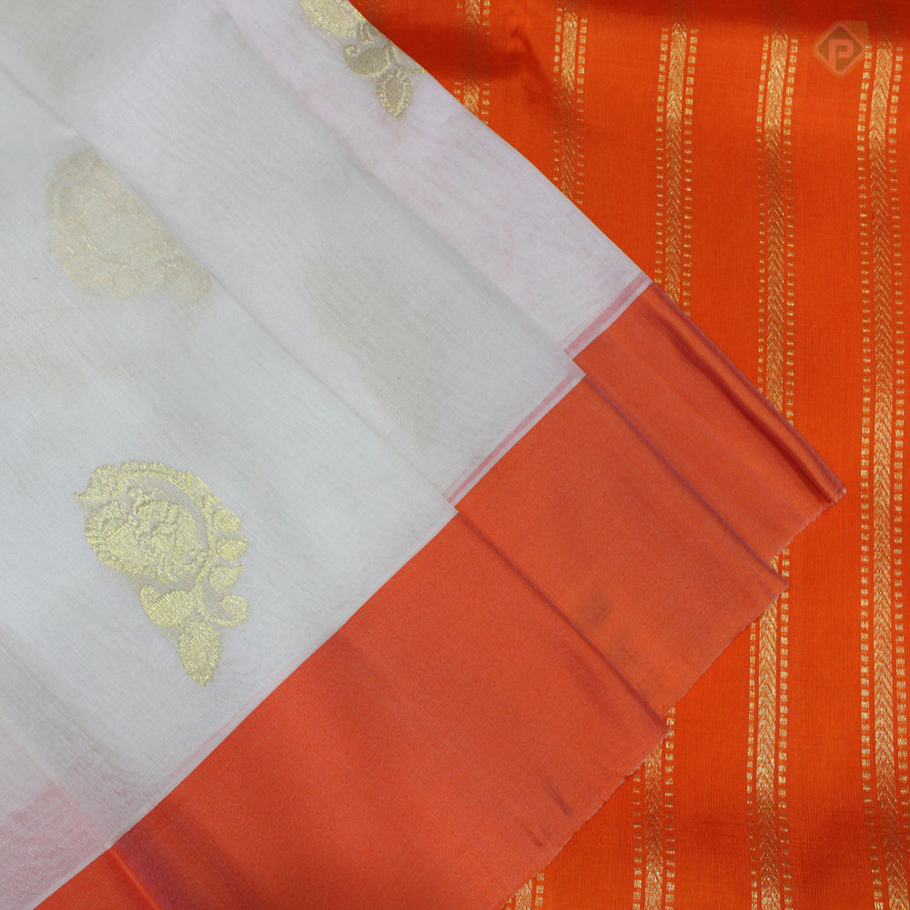 Cream White With Orange Colour Organza (or) Kora Silk Saree
