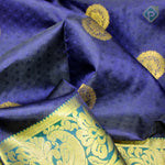 Navy Blue With Dark Green Colour Embossed Silk Saree