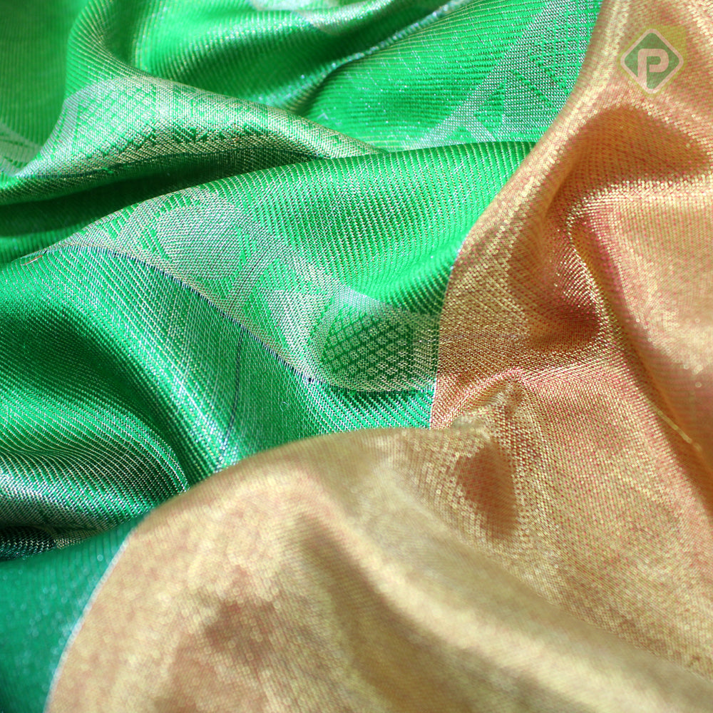 Multi Green With Gold Red Colour Bridal Tissue Saree